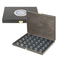 SPECIAL EDITION - Solid wood case CARUS-1 BLACK SAMT for 30 German 5 euro collector coins in coin capsules. Capsules are included   – Bild 1