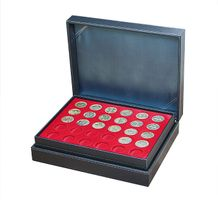 Coin case NERA XL with 3 trays and light red coin inserts for 90 coins with Ø 34 mm, e.g. for Jetons Touristiques – Bild 1