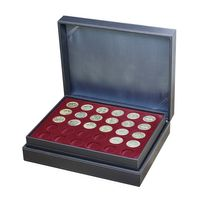 Coin case NERA XL with 3 trays and dark red coin inserts for 90 coins with Ø 34 mm, e.g. for Jetons Touristiques – Bild 1