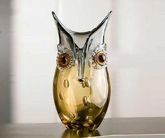 """Deko Vase """"Eule"""", 27 cm, amber-grau"""