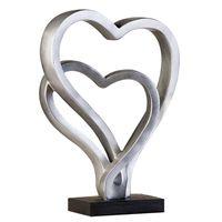 Casablanca Deko Skulptur Hearts, 30x23 cm, antik-silber