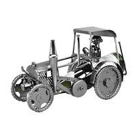 Flaschenhalter Traktor aus Metall, 36cm, silber