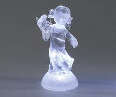 """Deko Engel """"Mädchen"""" mit LED-Licht, 18 cm, weiß"""