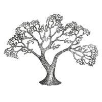 Gilde Wandrelief Baum aus Metall, 78 cm, schwarz-silber