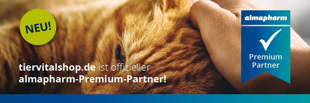 Almapharm Partnerbanner mit schlafender Katze im Hintergrund