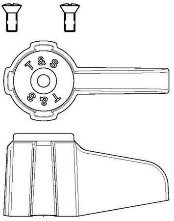 Hebelgriff T&S Achsaufnahme 7,6mm ø 32mm rot/blau Höhe 32mm