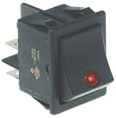 Cookmax Wippenschalter Anschluss Flachstecker 6,3mm beleuchtet rot