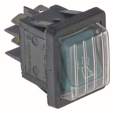 Wippenschalter Anschluss Flachstecker 6,3mm beleuchtet grün 2NO