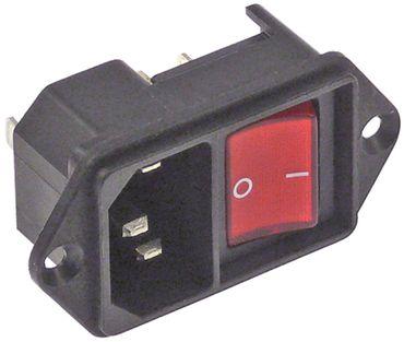 Geräteeinbaustecker Anschluss Flachstecker 4,8mm mit Schalter C14