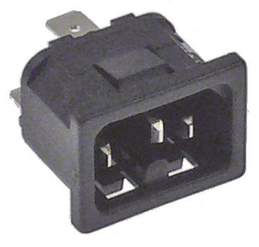 Warmgeräte-Stecker Anschluss Flachstecker 6,3mm Thermoplast C16