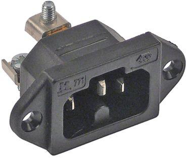 Heißgeräte-Stecker Schraubanschluss Loch 3,5mm Thermoplast C16A