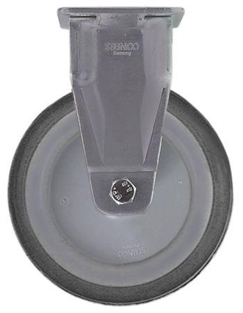 Bockrolle Plattenbefestigung Breite 32mm ø 125mm Edelstahl 125mm