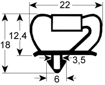 Kühlzellendichtung 3-seitig (kurze Seite offen) grau Profil 9237