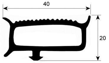 Friulinox Kühlzellendichtung grau Profil 9780 Steckmaß B 735mm L 1835mm