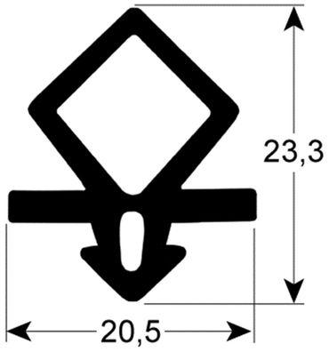 Kühlzellendichtung schwarz Profil 9935 VPE 25m