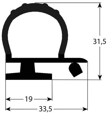 Kühlzellendichtung schwarz Profil 9979 VPE 6m