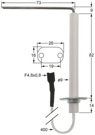 Fagor Zündelektrode für Kombidämpfer Körperlänge1 82mm D1 9mm