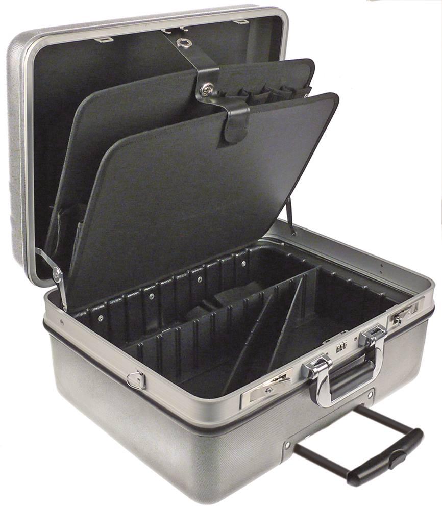 werkzeugkoffer mit rollen und ausziehbarem griff silber kunststoff. Black Bedroom Furniture Sets. Home Design Ideas
