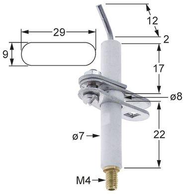 Cookmax Zündelektrode Anschluss M4 7mm 8mm Flanschbreite 9mm