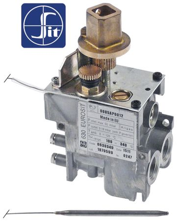 "Cookmax Gasthermostat Fühler 4x72mm Gasausgang 3/8"" 100-340°C"