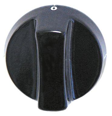 Krefft Knebel Achsabflachung unten Achse 6x4,6mm ø 64mm schwarz