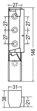 Bonnet Kantenscharnier Anschlag links/rechts mit Steigung L1 38mm