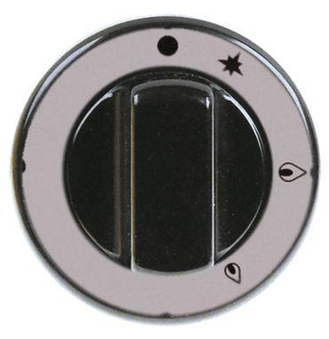 Knebel für Gashahn ø 70mm Symbol mit Zündflamme schwarz