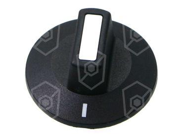 Knebel ø 50mm Symbol mit Nullstrich für Achse ø 6x4,6mm schwarz