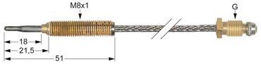 Thermoelement Länge 900mm flexibel M8x1 M10x1