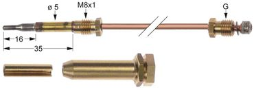 Falcon Thermoelement Länge 320mm Steckhülse ø 6,0mm M8x1 Kit
