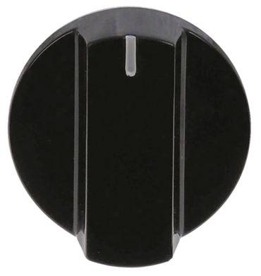 Knebel ø 47mm Symbol mit Nullstrich für Achse ø 6x4,6mm schwarz