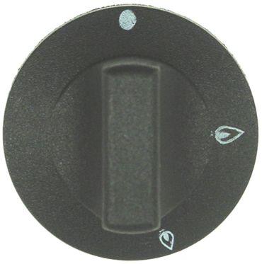 Knebel für Gashahn ø 55mm Symbol ohne Zündflamme schwarz