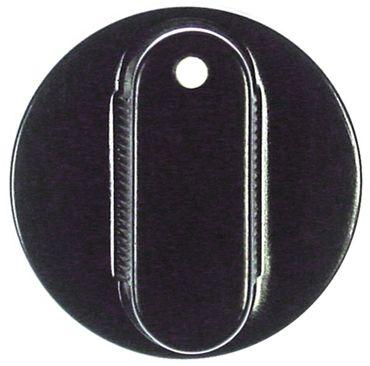 Knebel ø 38mm Symbol mit Nullstrich für Achse 5x5mm schwarz