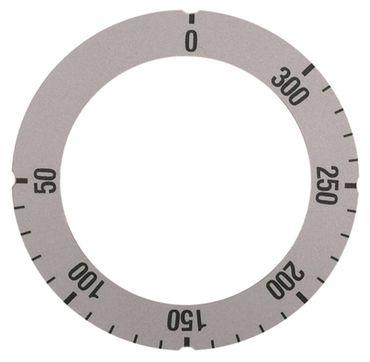 Knebelsymbol für Thermostat Symbol 50-300°C silber Aussen 63mm