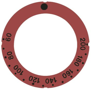 Knebelsymbol für Thermostat Symbol 60-200°C rot Aussen 63mm