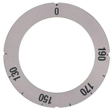 Knebelsymbol für Thermostat Symbol 120-190°C silber Aussen 63mm