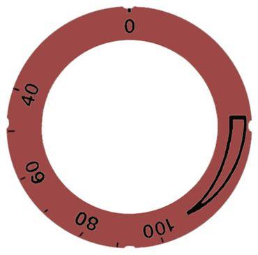 Knebelsymbol für Thermostat Symbol 40-150°C rot Aussen 63mm