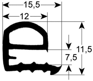 Fensterdichtung Länge 1.275mm Breite 635mm für Kombidämpfer