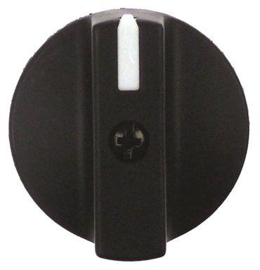 Knebel ø 35mm Symbol mit Nullstrich für Achse ø 8x7mm schwarz