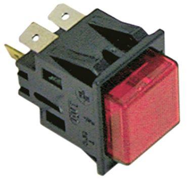 Druckschalter 250V 2NO/Leuchte rot Anschluss Flachstecker 6,3mm