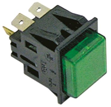 Druckschalter 250V 2NO/Leuchte grün Anschluss Flachstecker 6,3mm