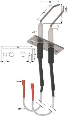 Eloma Zündelektrode Körperlänge1 38mm L1 8mm Körperlänge2 38mm