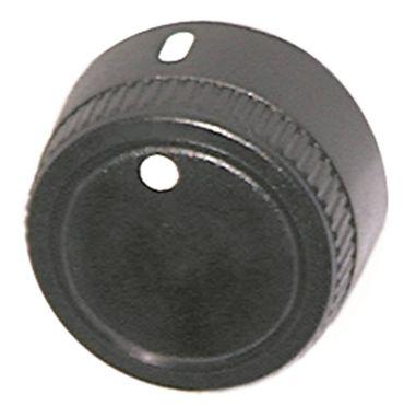 Knebel ø 38mm Symbol mit Nullstrich für Achse ø 6x4,6mm schwarz