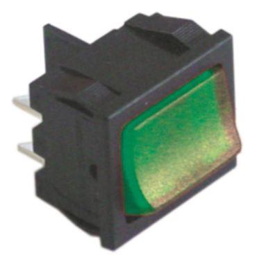 Wippenschalter 2-polig 250V 2NO grün Anschluss Flachstecker 4,8mm
