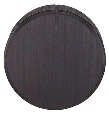 Knebel ø 28mm Symbol mit Nullstrich für Achse ø 6,4mm schwarz