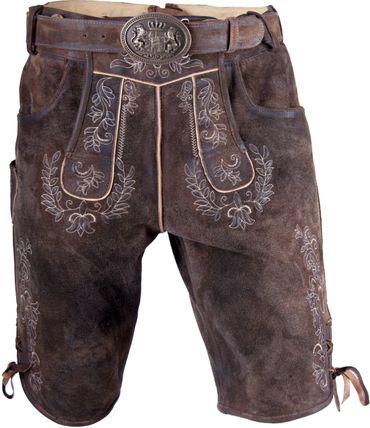 Almwerk Herren Trachten Lederhose kurz dunkelbraun Modell Max