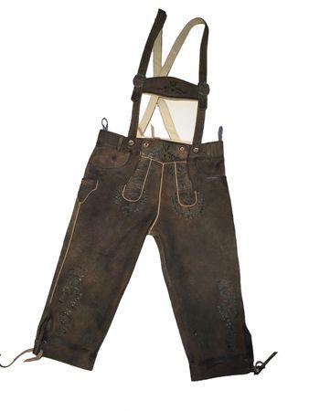 Almwelt Herren Trachten Lederhose dunkelbraun, kniebund, Stick grün, Hosenträger