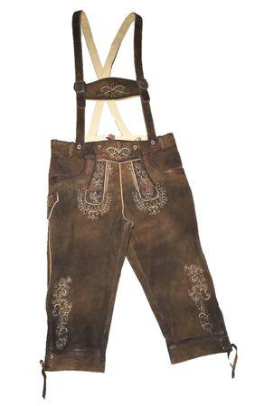 Almwelt Herren Trachten Lederhose braun, kniebund, Stick beige, Hosenträger