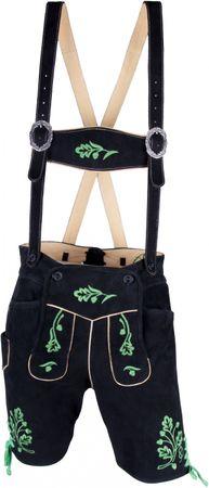 Almwelt Herren Trachten Lederhose kurz Modell Allgäu mit grünem Stick