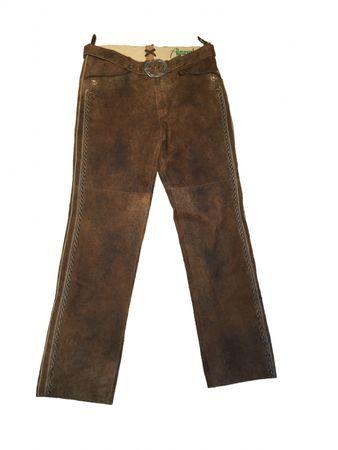 Almwelt Herren Freizeit Lederhose lang braun mit seitl. Muster